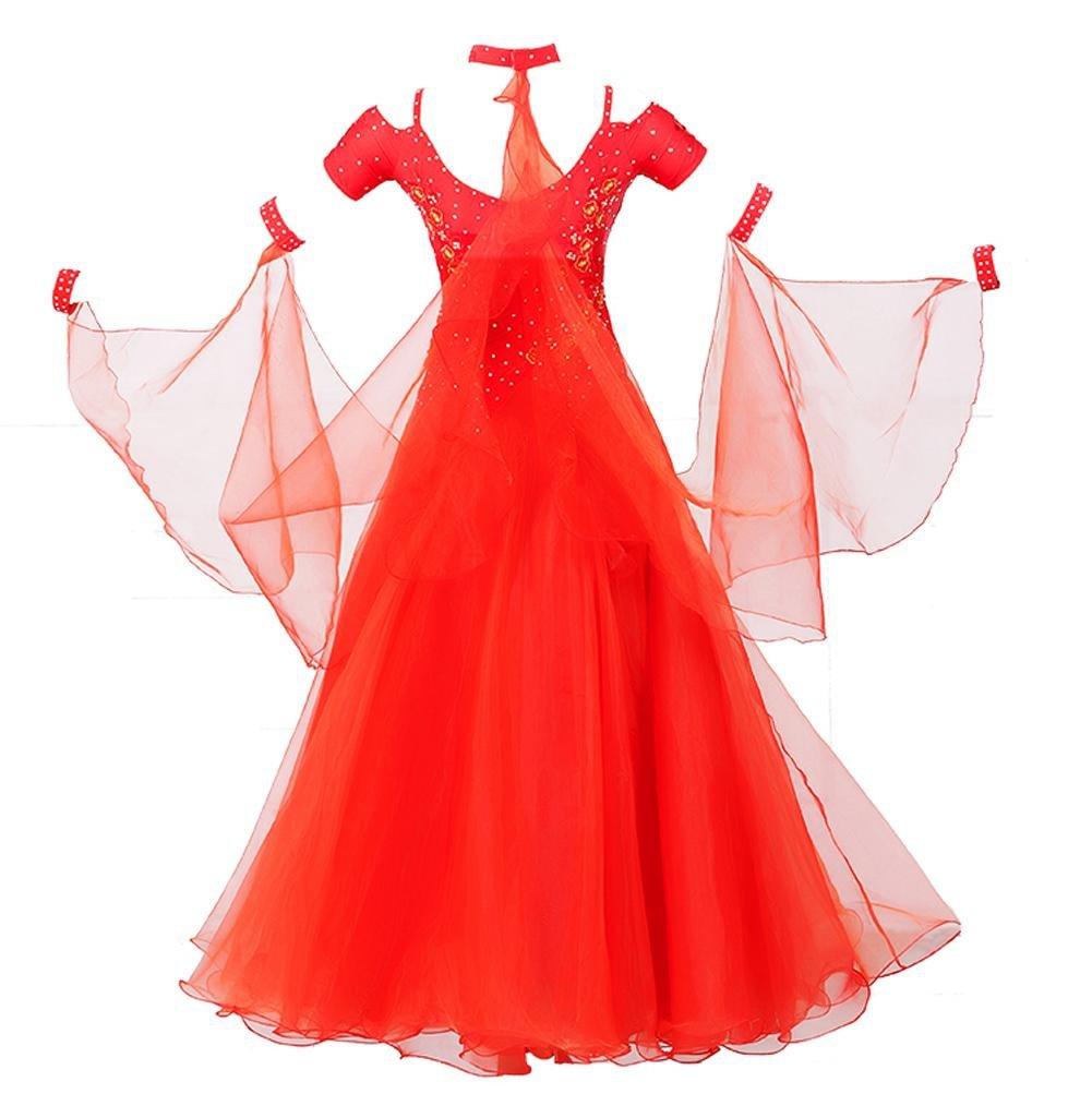 Wangmei Wangmei Wangmei Ballsaal-Tanz-Kleid Für Frauen Gestickt Kurze Ärmel Walzer Modernes Tanz Outfit Große Schaukel B07BSCQC73 Bekleidung Zart 52d281