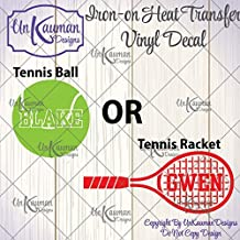Personalized Tennis ball or Racket Iron On Vinyl Decal