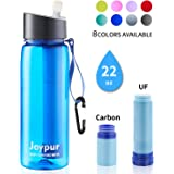joypur Water Filter Bottle, BPA Free Water Purifier with 4-Stage Intergrated Filter Straw for Camping, Hiking, Travel…