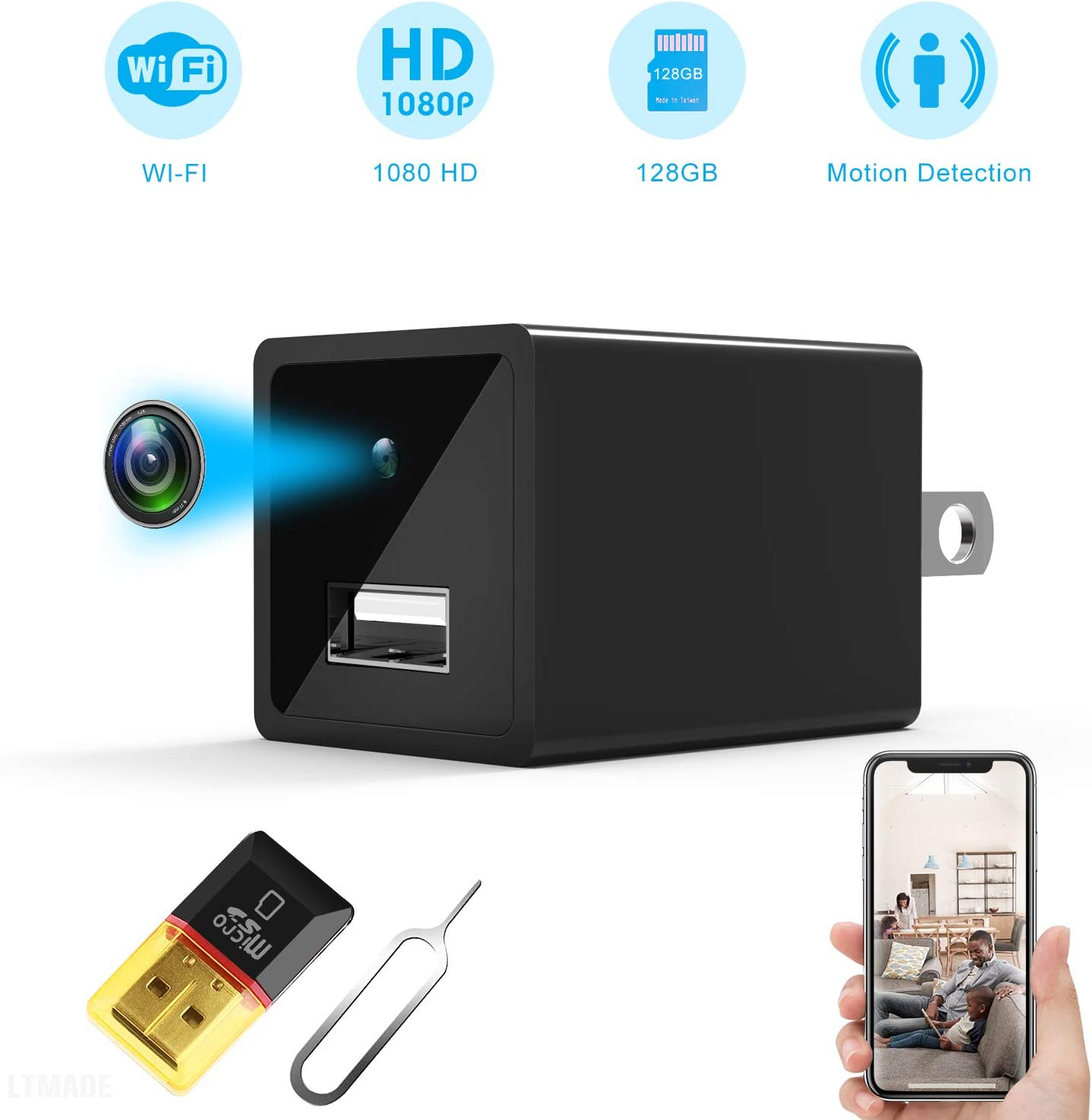 Jiyibidi Spy USB Charger Camera, HD