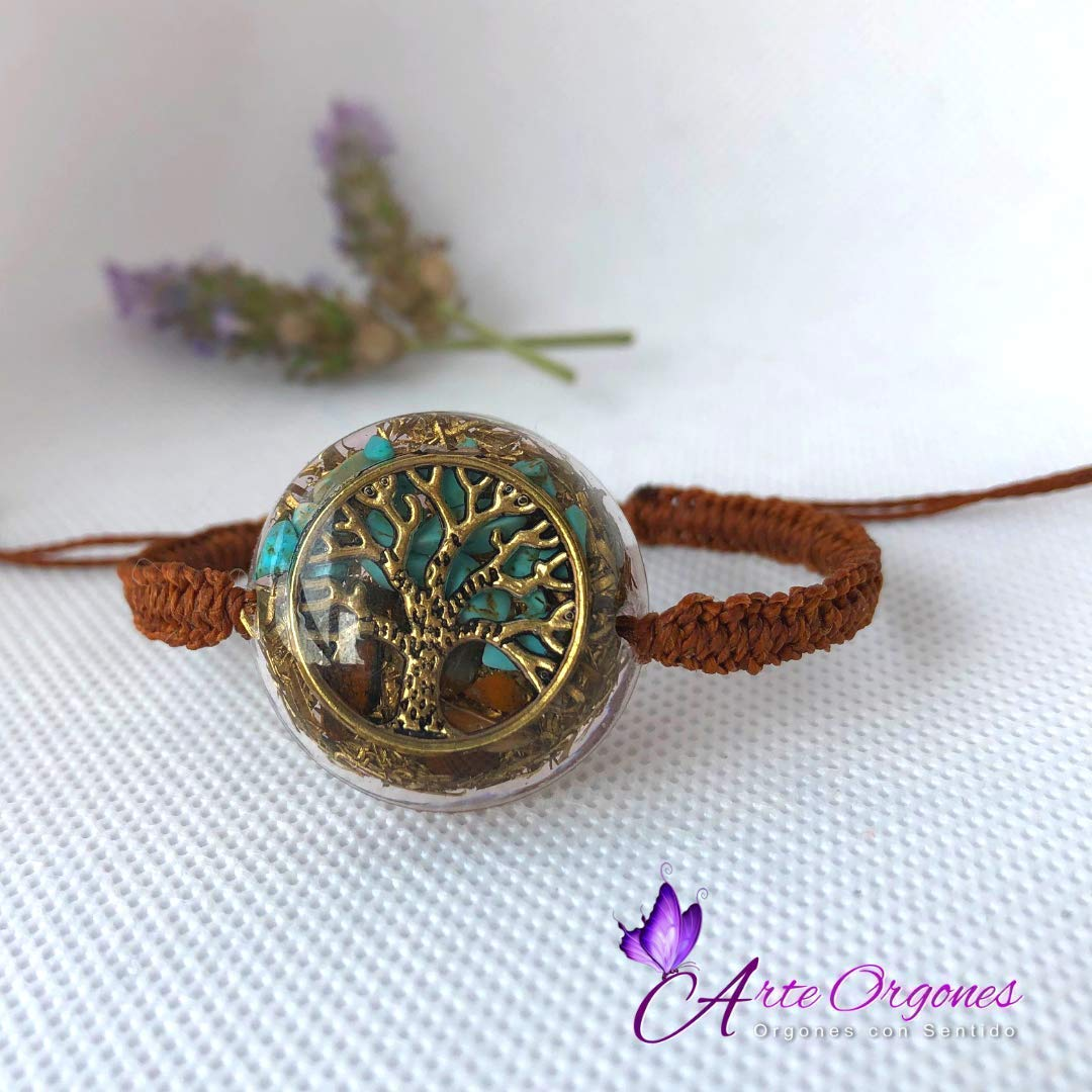 Orgonite Tree of Life bracelet, adjustable, with tigers eye, turquoise, EMF protection, energy, well-being, balance, holistic therapy, reiki, yoga, ...