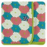 Kickee Pants Little Girls Print Swaddling Blanket - Tropical Flowers, One Size