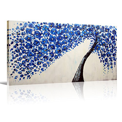 Handmade oil painting Blue Flower Canvas Art On Canvas Palette Knife Tree oil painting For for Living Room Bedroom Home Office Decorations