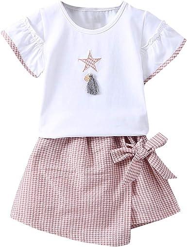 Trisee Bebé Chicas Manga Corta Camiseta + algodón Lino Bowknot ...