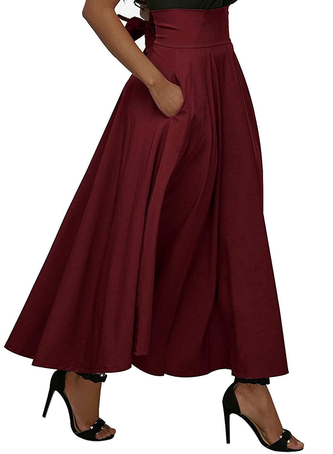 Calvin & Sally Women's Casual Flowy Dress High Waist Pleated Midi Skirt Pockets SZTDR1802