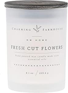 DW Home Charming Farmhouse Fresh Cut Flowers Scented Medium Single Wick Candle