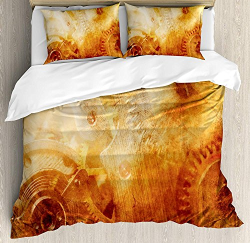 Queen Size Industrial 3 PCS Duvet Cover Set, Background of Ancient Machinery Mechanism in Retro Colors Historical Rust Motion, Bedding Set Bedspread for Children/Teens/Adults/Kids, ()