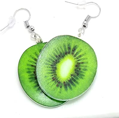 Handmade Resin Earrings With Kiwi Fruit Slices