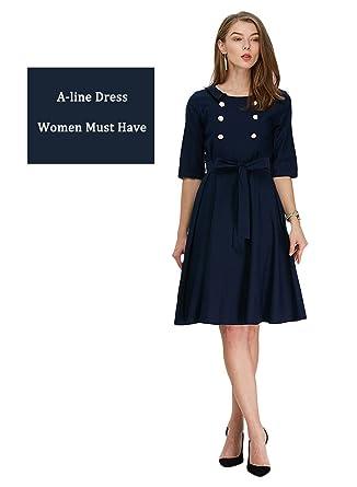RoseGal - vestido de cóctel estilo vintage años 50 con falda A, doble línea de botones en el pecho y cinturón PURPLISH BLUE M: Amazon.es: Ropa y accesorios