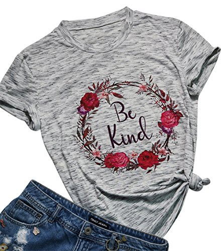 Be Kind T-Shirt Women's Graphic Printed Fashion Short Sleeve Tops Blouses Size M (White) ()
