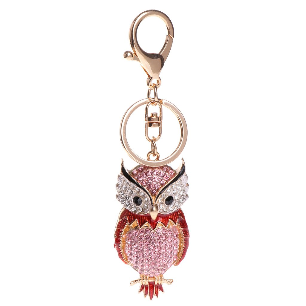 Dabixx Key Ring Cute Animal Owl Rhinestone Keychain Jewelry Bag Pendant Gift Decoration
