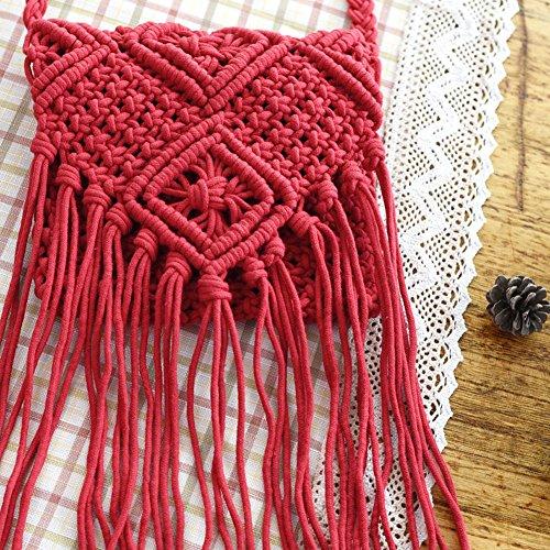 Bag Crochet Tassel Shoulder Bags Women Messenger Bohemian Beach Tassels red Fringed Cross Bxdp7