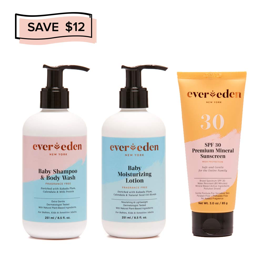 Evereden Outdoor Essentials Collection - Organic Baby Shampoo & Baby Wash, Natural Lotion, Organic Mineral Sunscreen - The Best Baby Essentials for Newborn Babies by Evereden