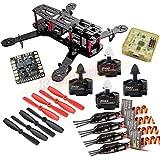 Hobbypower Carbon 250mm Quadcopter With MT2204 2300KV Motor + BLHeli 12A ESC + CC3D Flight Control Board + 5045 Props for QAV250 Mini FPV Drone