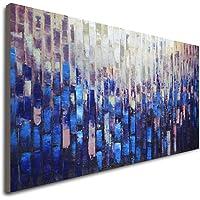 LVLUOYE Cuadros Modernos Baratos - Pinturas al óleo sobre Lienzo Totalmente Pintada a Mano - Pared Cuadros Art Deco - Pintura Azul Textura Adulto - Pintura Abstractas Sala Estar Dormitorio