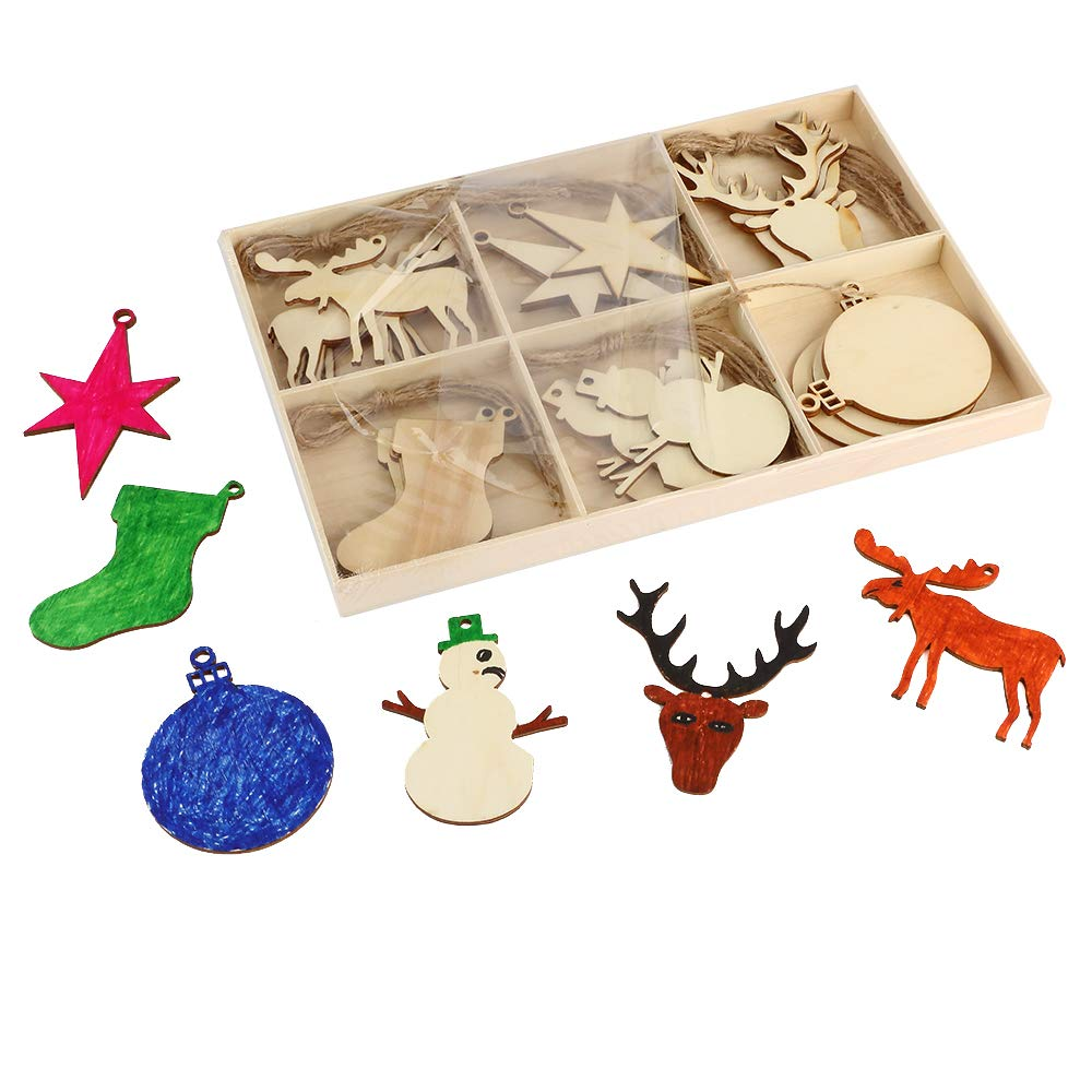 Joy-Leo DIY Christmas Elements Unfinished Wood Slices (30Pcs), for Christmas Tree Ornaments and Home Decoration (Reindeer, Snowman and So On)