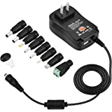 Universal AC/DC Adapter, CUGLB 30W Multi Voltage Switching Power Supply with 8 Selectable Tips & 5V 2.1A USB Port for 3V to 12V Max 2A Household Electronics and LED Strip