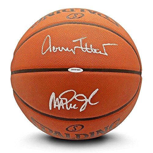 Autographed Magic - JERRY WEST/MAGIC JOHNSON Autographed Authentic Spalding Basketball UDA