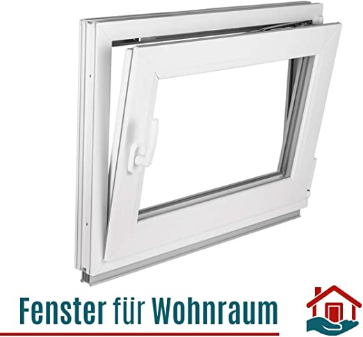 2 fach Verglasung Alle Gr/ö/ßen Dreh Kipp Wei/ß Fenster Kellerfenster Kunststofffenster Breite: 105 cm BxH: 105x70 cm DIN Links Premium