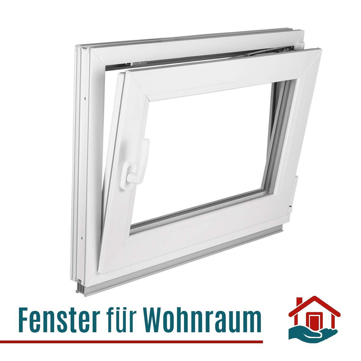 Fenster Breite: 100 cm x H/öhe: Alle Gr/ö/ßen Dreh-Kipp-Funktion wei/ß BxH: 100x60 cm DIN Rechts 3-fach-Verglasung Premium Kellerfenster Kunststofffenster