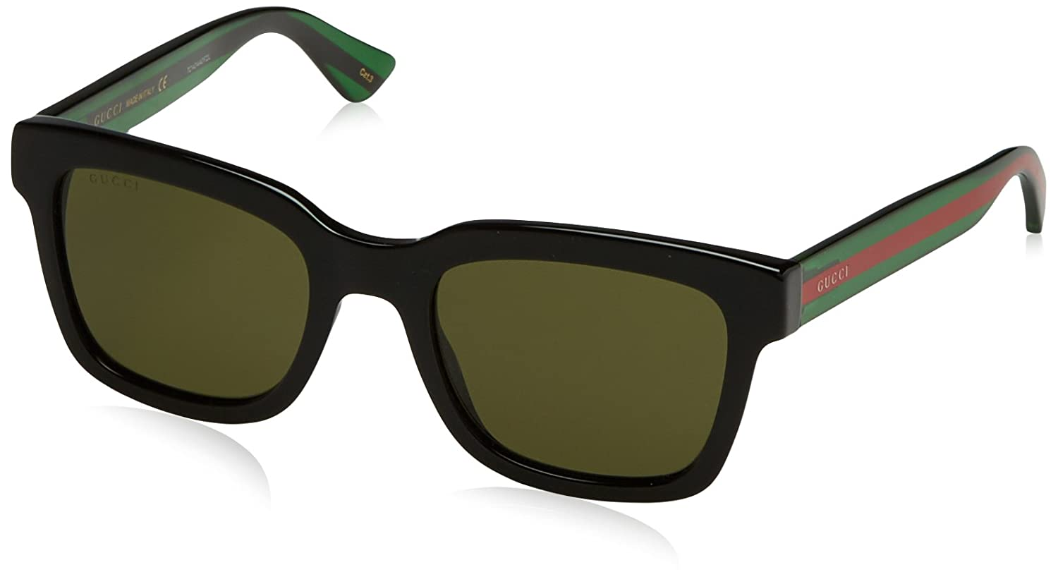 Gucci - GG0001S, Geometrico, acetato, uomo, BLACK STRIPED GREEN/GREEN(002 B), 52/21/145