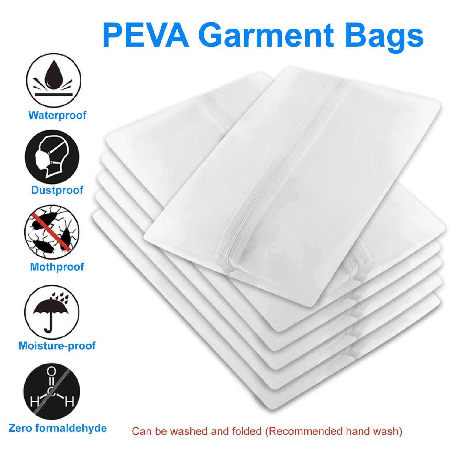 Garment Bags Dress Long Suit Bag -Hanging Dust Cover White Clear Breathable for Dance Clothes(Pack of 5)
