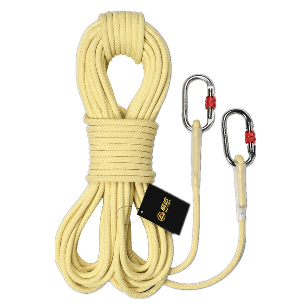 ROBAG ロッククライミングロープ 耐摩耗 アラミッド スピードドロップ 耐火性 安全脱出ロープ 静電気ロープ 2フック B07GCXG5K7 10.5mm-20meters