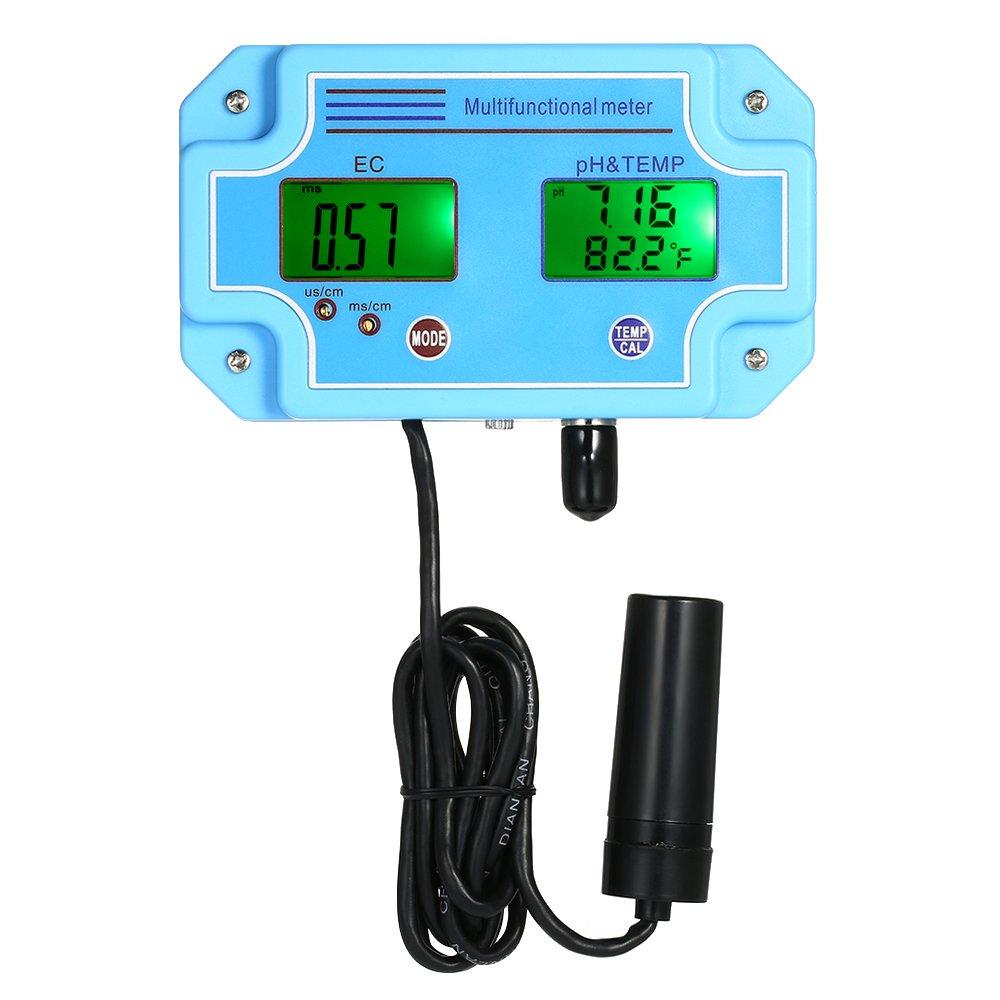 KKmoon Testeur De Qualité De L'eau PH-mètre/EC/TEMP 3 En 1 Professionnel Détecteur D'eau Multi-paramètre LCD Numérique Tri-mètre Multi-fonction Multiparamètre De Moniteur De Qualité De L'eau