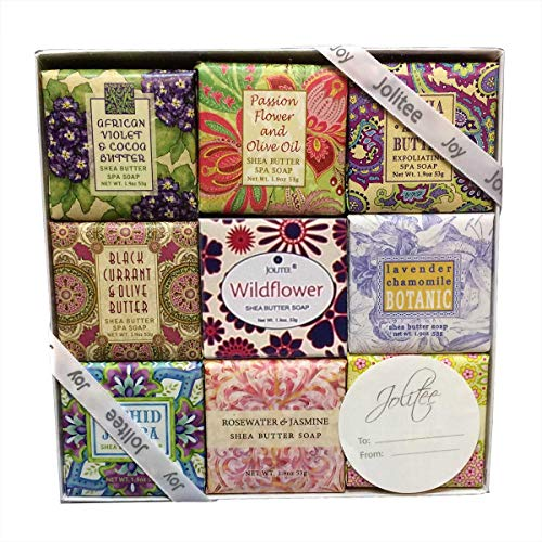 French Milled Botanical Soap Sampler Set in Nine Fabulous Scents, Individually Wrapped Vegetable Based Mini Soaps with Essential Oils, Shea Butter and Natural Extracts (Floral Favorites) - French Bath Gift