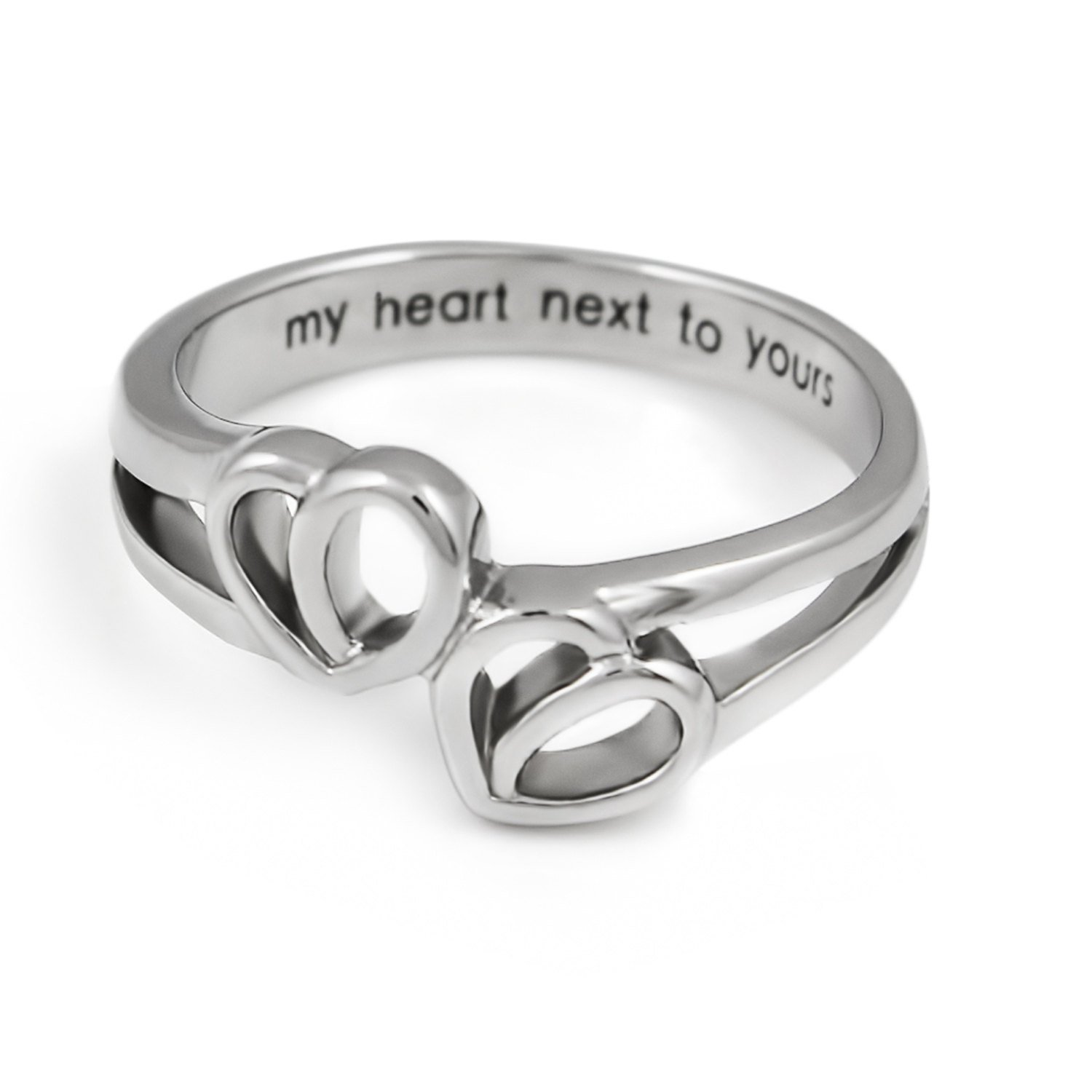 two hearts simple infinity ring promise ring double