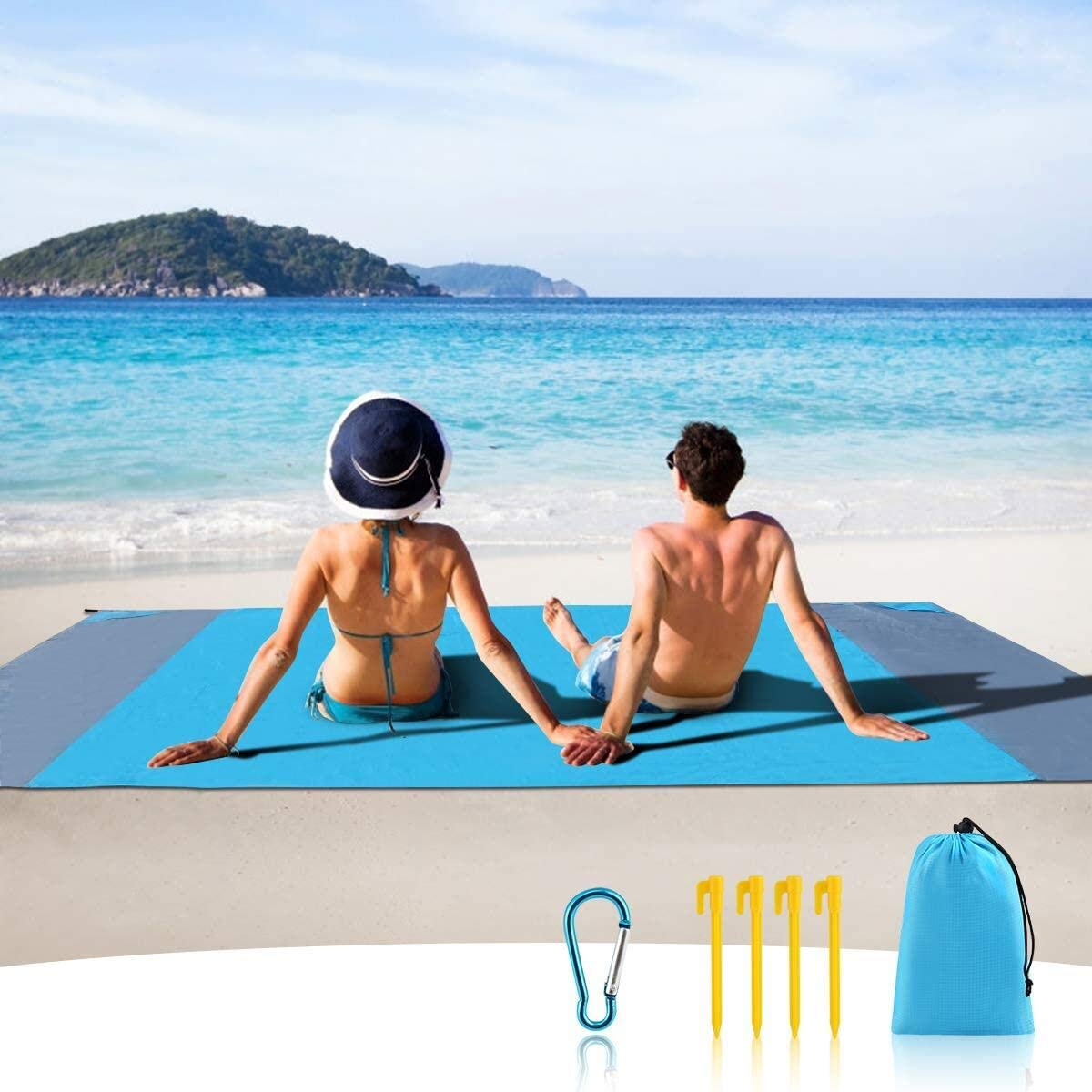 MILIER Beach Blanket Waterproof Beach Mat Sand Proof Beach Blanket Picnic Mat with Anchor for Travel, Camping, Hiking, 210cmx200cm