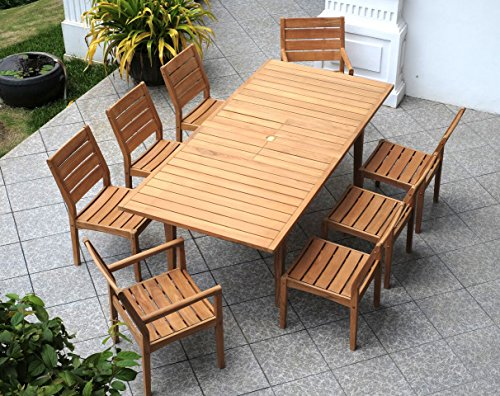 Cambridge-Casual AMZ-610354T 9 Piece Andrea Teak Dining Set, Natural
