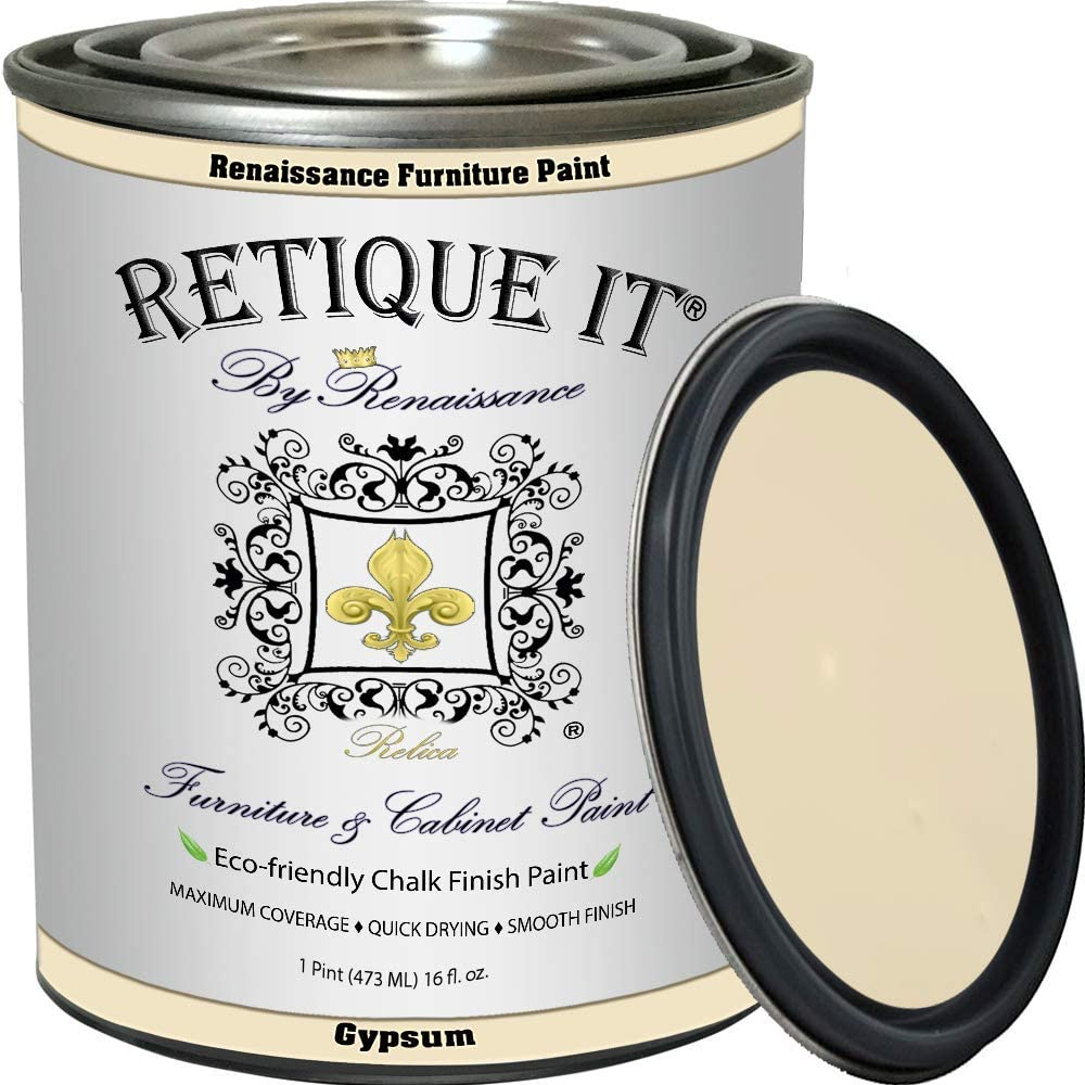 Retique It Chalk Furniture Paint by Renaissance DIY, 16 oz (Pint), 21 Gypsum