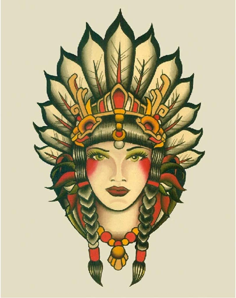 Poster Girl Buddha Tattoo Art Wall Art