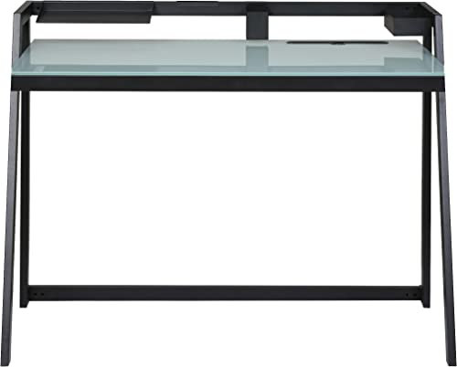 OneSpace Tablet Desk with Aqua Glass Desktop and Black Metal Frame