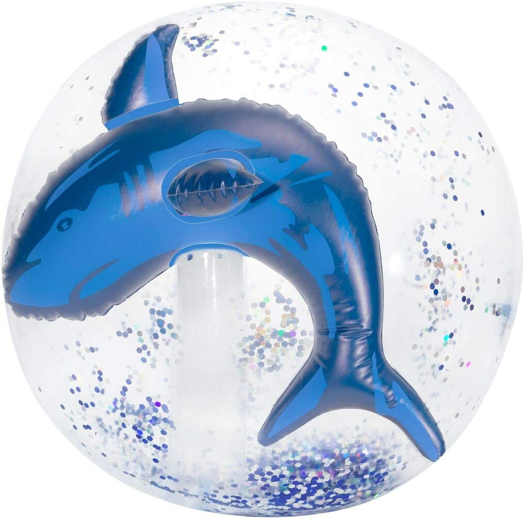 3C4G Shark 3-D Glitter Confetti Beach Ball