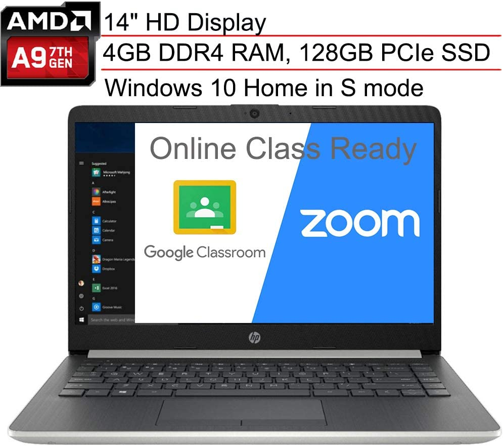 "(Renewed) HP 14 14.0"" Laptop Computer, AMD A9-9425 up to 3.7GHz, 4GB DDR4 RAM, 128GB PCIe SSD, WiFi, Type-C, HDMI, Webcam, Microphones, Silver, Windows 10 S Mode, SPMOR Mouse Pad, Online Class Ready"