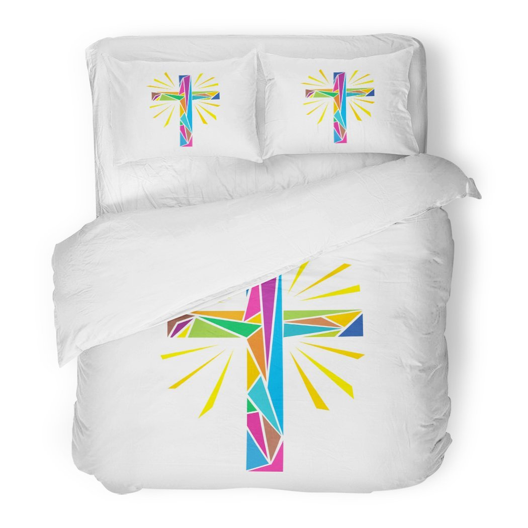 SanChic Duvet Cover Set Catholic Church Christian Symbols the Cross of Jesus Christ Made Up Colored Shine Rays Easter Decorative Bedding Set with 2 Pillow Shams Full/Queen Size