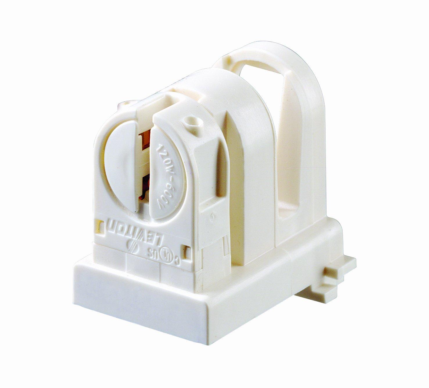 Leviton 13654 EXL Medium To Miniature Base T5 Bi Pin Standard Fluorescent Lampholder White