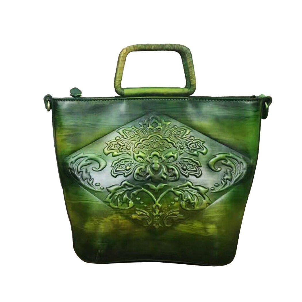 JIANFCR 不規則なハンドラビング方法レディースバッグ高級本物の革のハンドバッグクロスボディバッグヴィンテージレザーバッグ、仕事/ショッピング/昼間の使用/グリーン、ブラウン B07F8M6823  緑 One Size