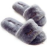 HALLUCI Women's Cozy Winked Eye Plush Fleece Memory Foam House Slippers w/Non Slip Soles