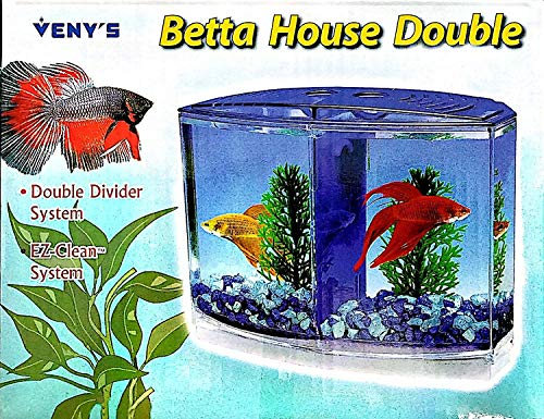 Mini Betta / Fighter Fish Tank with 2 compartments ( Artificial Plants Included ) Colors May Vary – Central Fish…