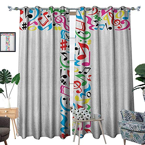 Warm Family Letter T Room Darkening Wide Curtains Uppercase T Letter Colorful Sheet Music Elements Font Alphabet Design Art Style Customized Curtains W120 x L84 Multicolor