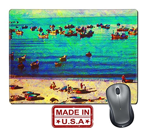 """Liili Natural Rubber Mouse Pad/Mat with Stitched Edges 9.8"""" x 7.9"""" original oil painting of boats mui ne beach vietnam Photo - Mui Logo Mui"""
