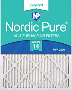 Nordic Pure 16x20x1 MERV 14 Pleated AC Furnace Air Filters, 16x20x1M14-6, 6 Pack
