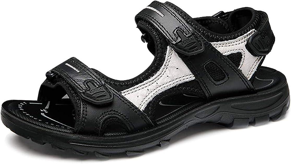 Chaussures de Sports Marche /Ét/é Plates en Cuir /à Scratch R/églable Confortable pour Trekking Pieds Larges Filles Noir Marron Blanc Camfosy Sandales de Randonn/ée Femmes