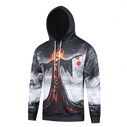 Crochi Fall/Winter Street Wear Novelty Hoodies Men Women Skulls Painted 3D Printing Pullover Halloween Hooded Sweatshirts at Amazon Womens Clothing store:
