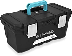 Navaris Tool Box 16 Inch - 40cm Rugged Plastic Multi-Purpose Toolbox Case with Lift-Out Organizer Tray to Store and Transport Tools - 2 Latches