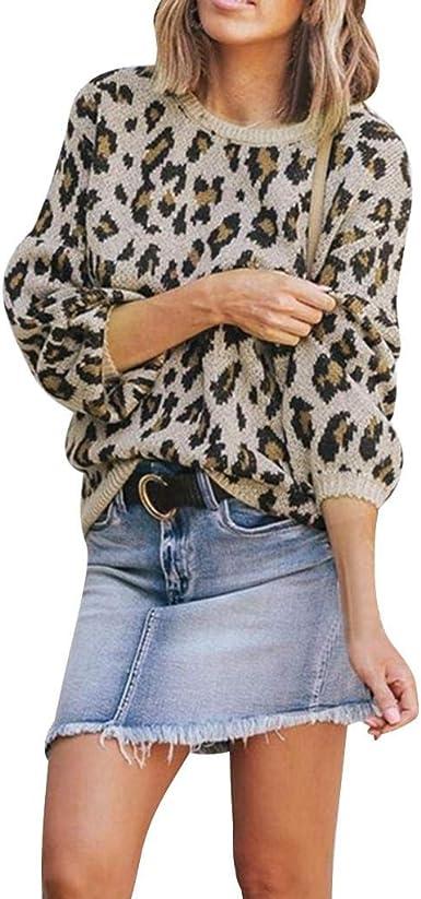 LUCKYCAT Sudadera con Estampado de Leopardo para Mujer, Camiseta ...