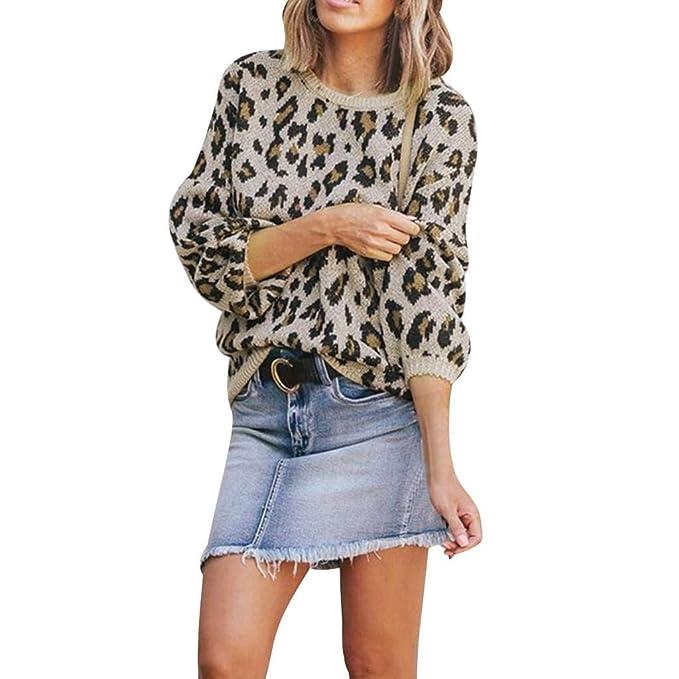 LUCKYCAT Sudadera con Estampado de Leopardo para Mujer ...